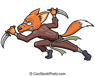 Ninja - Vector illustration of Cartoon Ninja Fox
