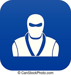Ninja in black mask icon digital blue