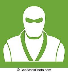 Ninja in black mask icon green