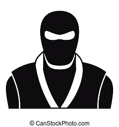 Ninja in black mask icon, simple style