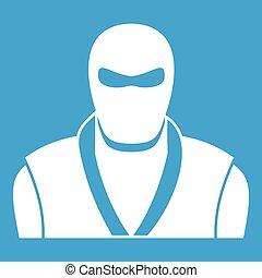 Ninja in black mask icon white