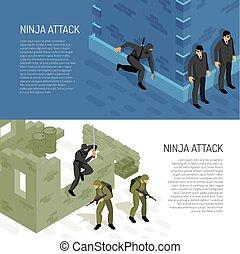 ninja, isométrico, banderas