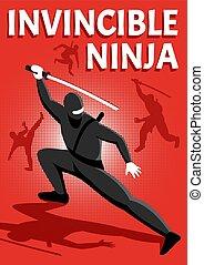 ninja, isométrico, cartel