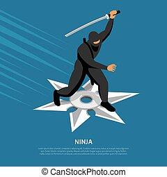 ninja, isométrico, guerrero, cartel