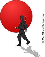 ninja, japanner, illustratie, strijder