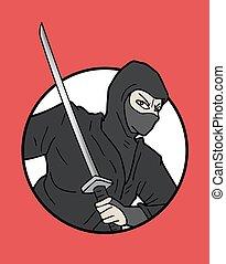 ninja, japonés, ilustración