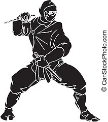 ninja, kämpe, -, vektor, illustration., vinyl-ready.
