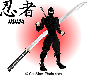 ninja, katana, guerrier
