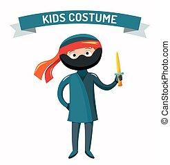 Ninja kid costume isolated vector illustration. Kids party...