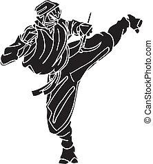 ninja, luchador, -, vector, illustration., vinyl-ready.