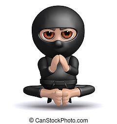 ninja, meditates, 3d