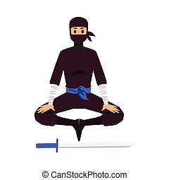 ninja, meditates, sword.