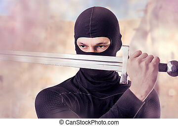 ninja, noha, kard, külső, alatt, dohányzik