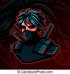 Ninja or assasin Logo Mascot Character in dark background for Esport lcon.