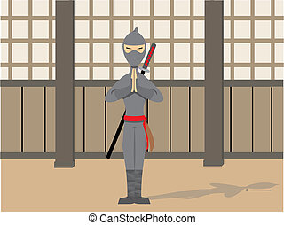 Ninja Posing - Traditional male warrior in peaceful stance
