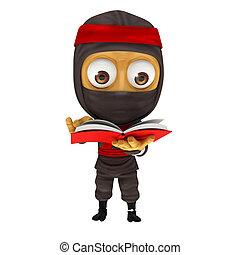 Ninja read a book
