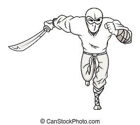 ninja, rennende , karakter