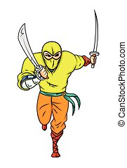 ninja, rennende , spotprent