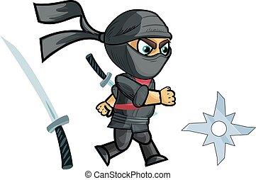 ninja, rennende , sprite.vector, spel, illustratie