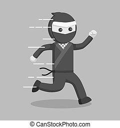 ninja, rennende , vector, ontwerp, illustratie