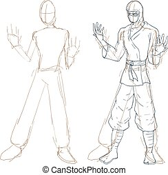 ninja, schets, illustratie
