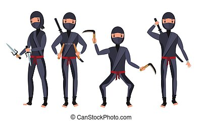Ninja Set Vector. Samurai Characters. Attacking, Moving, Jumping, Kicking. Isolated On White Background Flat Cartoon Illustration