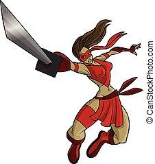 ninja, sexy, mujer, lucha, saltar