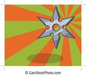 ninja shuriken or star, colorful background