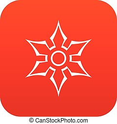 Ninja shuriken star weapon icon digital red for any design...