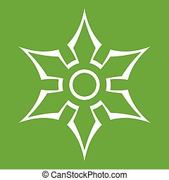 Ninja shuriken star weapon icon green - Ninja shuriken star...
