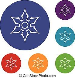 Ninja shuriken star weapon icons set in flat circle red,...