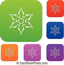 Ninja shuriken star weapon set color collection - Ninja...