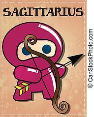 ninja, signos, sagittarius, sinal
