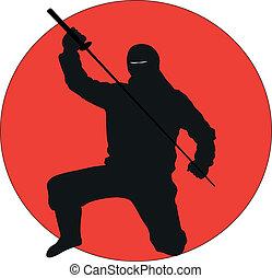 Ninja silhouette - Silhouette illustration of a Ninja on a ...