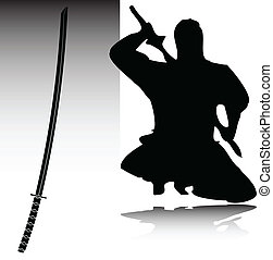 ninja, siluetas, vector