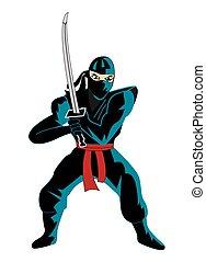 ninja, sobre, branca, ilustração
