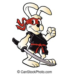 ninja, spotprent, konijn