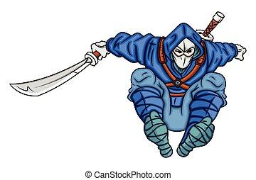 ninja, springt, spotprent, pose
