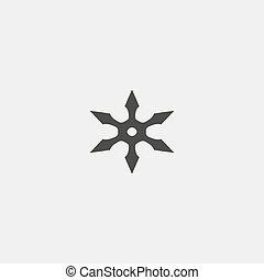 ninja star icon in a flat design in black color. Vector...
