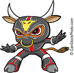 ninja, stier, vector, strijder