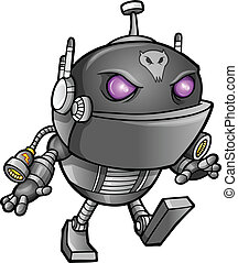 ninja, straniero, guerriero, robot, cyborg