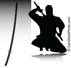 ninja, sylwetka, wektor