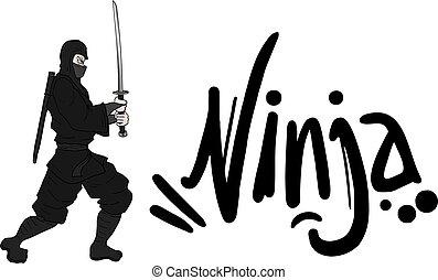 ninja, symbool, vector