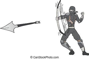 ninja, támad, nyíl