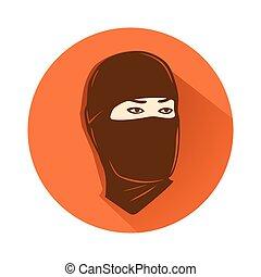ninja, tête, symbole
