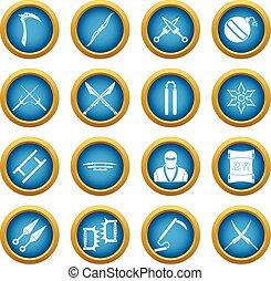 Ninja tools icons blue circle set