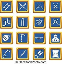 Ninja tools icons set blue