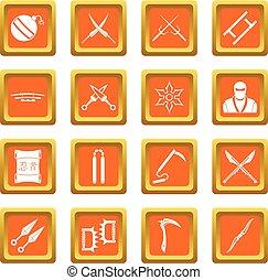 Ninja tools icons set orange