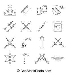 Ninja tools icons set, outline style
