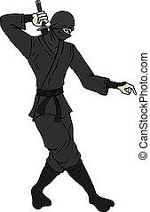 ninja, trekken, wandelende